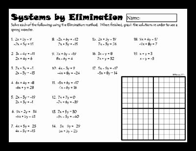 Systems Of Equations Worksheet Elegant Systems Of Linear Equations By Elimination From Dawnmbrow In 2020 Linear Equations Systems Of Equations Solving Linear Equations
