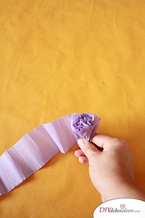 spielerisch rosen basteln mit krepppapier  diy