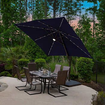 10 Led Solar Square Cantilever Umbrella In 2020 Cantilever Umbrella Cantilever Patio Umbrella Patio