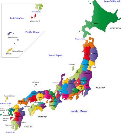 Large Printable Map Of Japan Japan Prefecture Map Learning - Japan map by prefecture