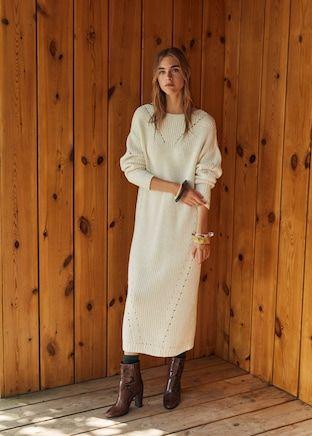 Lång stickad klänning Damer | Mango Sverige | Stickad