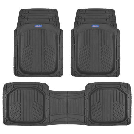 Acdelco Triflex Car Rubber Floor Mats Odorless All Weather Protection 3 Pieces Black Rubber Floor Mats Rubber Flooring Car Floor Mats