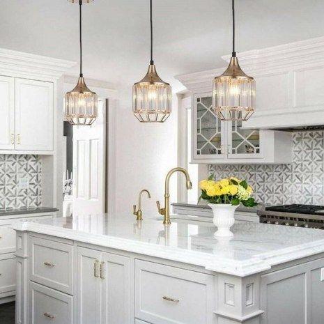 40 Elegant And Stylish Kitchen Gold Lighting Fixtures Ideas 34 In 2020 Kitchen Island Lighting Pendant Island Pendant Lights Kitchen Pendant Lighting