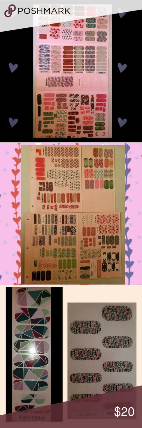 Lot of Accent/Partial Jamberry Wraps Lot of Jamberry wraps that are pedi packs, partials, and accents. Also includes inspirational incentive stickers and cards. Smoke/Pet free home. Jamberry Other