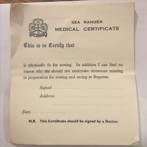 Girl Guide Sea Rangers medical certificate Sea Rangers (Girl - medical certificate from doctor