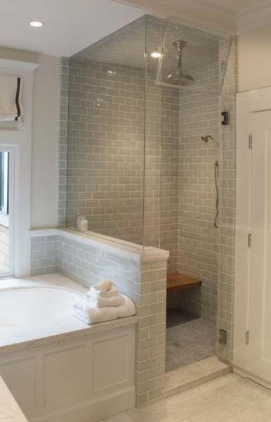 15 Ideas For Bathroom Layout No Tub Half Walls Small Master Bathroom Bathroom Remodel Master Bathroom Remodel Shower