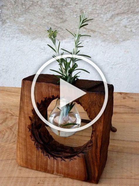 Wood vase, Wood decor, Wooden vase, Vases decor, Wood diy, Wood creations - 10  Ethereal Wooden Vases Babies Breath Ideas -  #Woodvase
