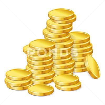 Stacks Of Gold Coins On White Background Stock Illustration Ad Coins Gold Stacks White Gold Coins Coins White Background