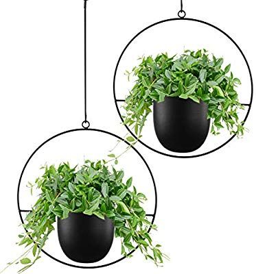Amazon Com Abetree 2 Pcs Boho Metal Hanging Planters For Indoor Plants With Hooks Modern Wall And C In 2020 Metal Hanging Planters Hanging Planters Hanging Air Plants