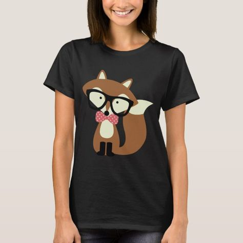 Bow Tie and Glasses Hipster Brown Fox T-Shirt #hipster #fox #foxes #animals #woodland #TShirt