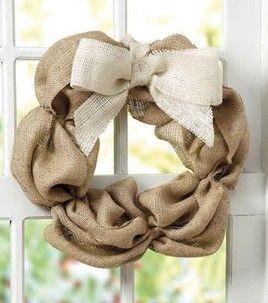 Burlap wreath. So cute!