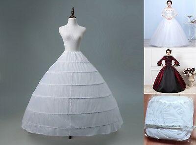 6 Ring Hoop White Wedding Bridal Prom Petticoat Underskirt Crinoline Slip Gown Pola Gaun Baju Pengantin Gaun