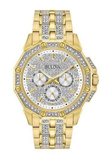 Bulova Men S 98c126 Swarovski Crystal Pave Bracelet Watch Gold Watch Men Crystal Watches Bracelet Watch