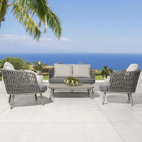 Pleasant Bungalow Rose Orkney 4 Piece Deep Seating Group Deck Alphanode Cool Chair Designs And Ideas Alphanodeonline