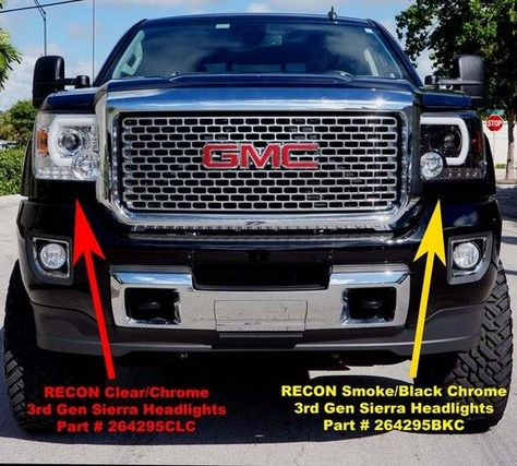 Recon Part 264295bkc Smoked Projector Headlights Gmc Sierra Denali 14 17 Smooth Oled Technology 2017 2016