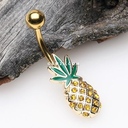 pineapple CZ Belly Button Ring navel ring short Surgical steel navel jewelry