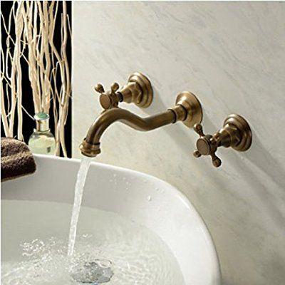 Amazon Co Jp Rozin バスルーム用 混合水栓 蛇口 アンティーク真鍮 洗面所用 じゃぐち 壁にマウント ホーム キッチン 蛇口 シンク 水栓