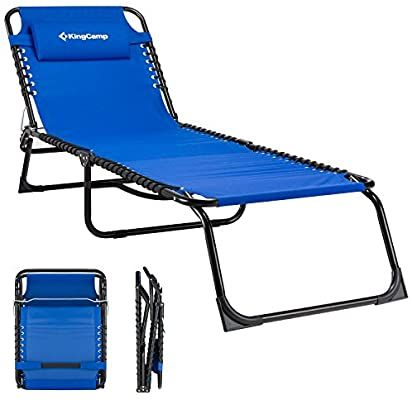 Amazon Com Kingcamp Folding Outdoor Chaise Lounge Chair Cot Bed For Beach Sunbathing Patio Pool Lawn De In 2020 Outdoor Recliner Patio Lounge Chairs Patio Lounge