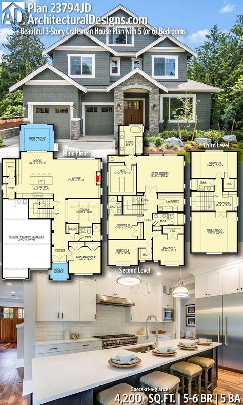 Architectural Designs Craftsman House Plan 23794jd Gives You 5 6 Bedrooms 5 Baths And 4 200 Sq Ft Craftsman House Plans Craftsman House Plan Craftsman House