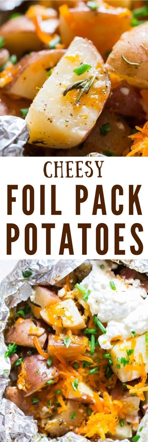 Grilled potatoes in foil packets are perfect side dish for your BBQ dinner or just about any meal. It's super easy to throw together everything into foil packets and grill it over camp fire, grill or oven. ULTIMATE SUMMER MEAL.#summergrilling #grilledpotatoes #potatorecipes #campingrecipes #grill #ovengrilled #summermeals #summersidedish #dishdishrecipes #sidedishforgrilledmeat #potatoes #cheese #bacon