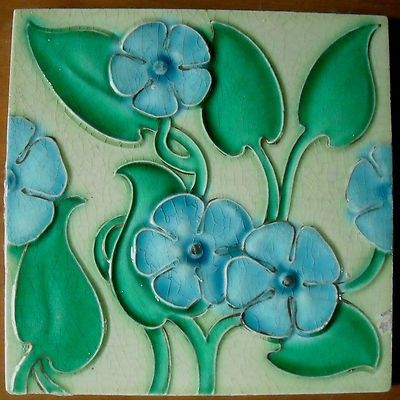 ANTIQUE VICTORIAN MAJOLICA 4-TILE SET C1900 ALFRED MEAKIN