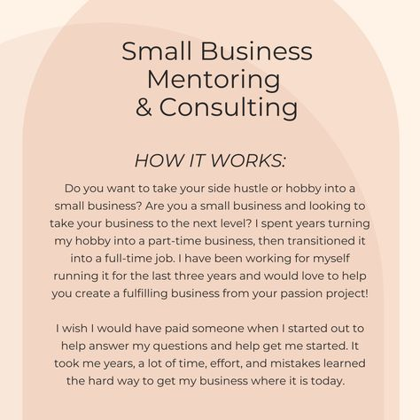Small Business Mentoring & Consulting Sessions