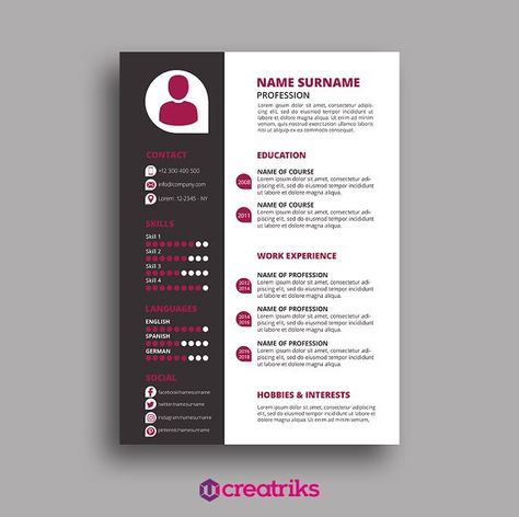 Resume\/CV - Vince by BCDStudio on @Graphicsauthor Resume CV - hobbies and interests on a resume