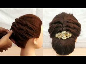Most Easy Hairstyle For Party Or Wedding Beautiful Bun Updos Easy Hairstyles Youtube Easy Party Hairstyles Easy Hairstyles Easy Hairstyle Video