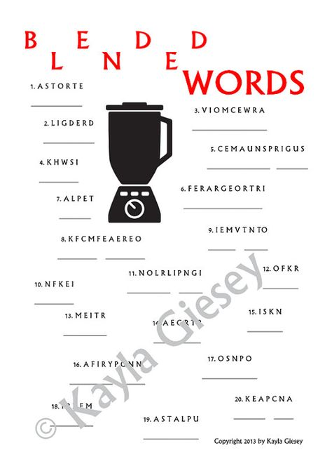 Kitchen Themed Bridal Shower - Blended Words Word Scramble Game  - Unscramble the kitchen themed words. First person to unscramble all the words wins!