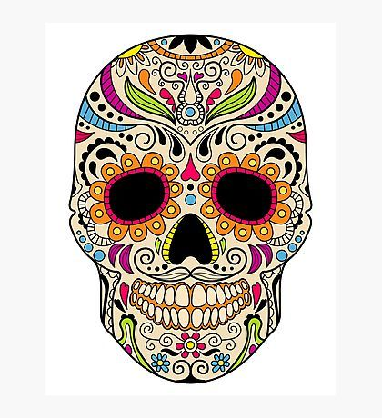 Mexican Color Skull Photographic Print By Topvectors Sugar Skull Design Sugar Skull Skull Design