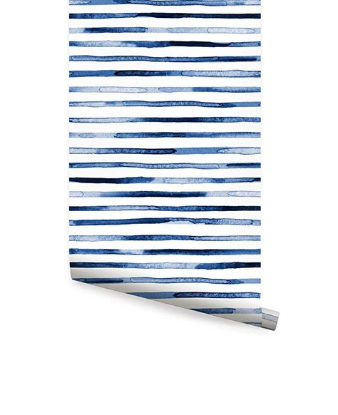 Watercolor Stripes Wallpaper Blue Peel And Stick By Simple