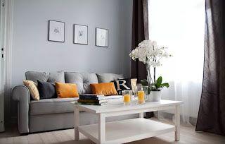Marzua: Color gris perla en decoración Sala de apartamento pequeño Sala de estar ecléctica Paredes grises