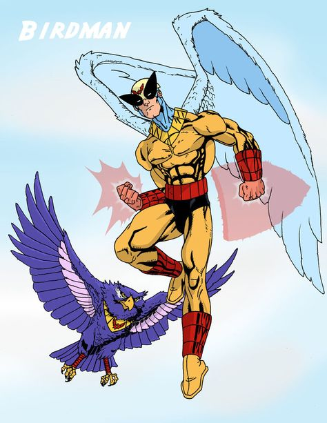 Birdman and Avenger created by Hanna-Barbera now owned by DC (Detective Comics) and Warner Brothers Studios. Powers: Superhuman strength, energy projection (solar heat ray), energy projection (solar heat shield or surrounding heat forcefield). Powers are based on solar energy absorbtion and wan when exposure to solar energy is absent.