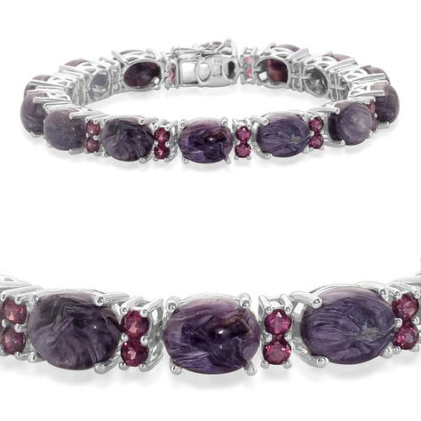 Liquidation Channel: Siberian Charoite and Orissa Rhodolite Garnet Bracelet in Platinum Overlay Sterling Silver (Nickel Free)