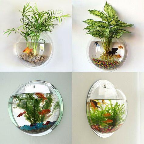 Online Shop Acrylic Fish Bowl Wall Hanging Aquarium Tank Aquatic Pet Supplies Pets Product Wall Mount Pot Plant Vase Mounted Home Decoration