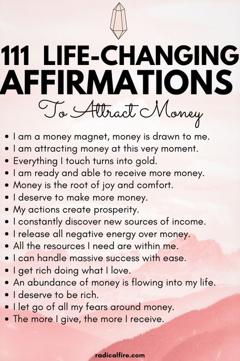 111 Positive Money Affirmations to Attract Wealth and Abundance - Radical FIRE