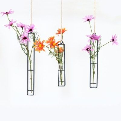 Hydroponic Hanging Long Glass Vase With Iron Frame Potted Plant Container Sale Price Reviews Flower Bottle Wedding Decor Vases Wedding Vases