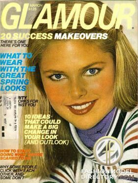 Glamour magazine, March 1977 wallpaper with a headshot in The Christie Brinkley Club