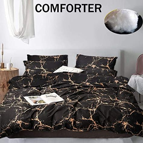 Best Seller Jumeey Black Gold Comforter Set Full Gold Marble Print Bedding Queen Women Men Teens Boys Abstract Marble Pattern Comforters Modern Chic Black Grey Yellow Gothic Comforter Quilt Sets Cotton Online
