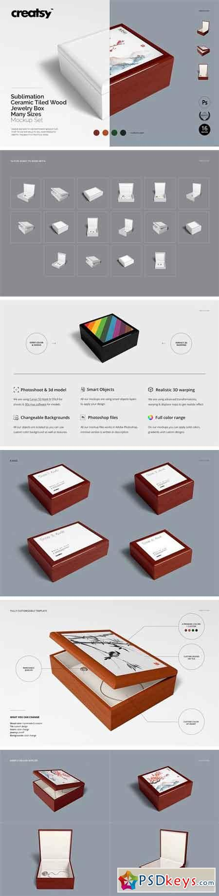 Download Tiled Wood Jewelry Box Mockup Set 2249144 Wood Jewelry Box Wood Jewellery Wood Tile