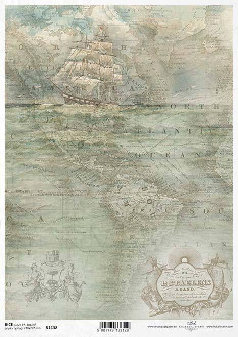 Voyage-USA-Itinéraire 66-r1047 Papier de riz-Motif Paille soie-Decoupage-Vintage-Rétro