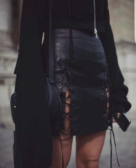 $70 Cute Cool Monochrome All Black Everything Black Leather Lace Up Side Detailing Mini Skirt With Matching Black Long Sleeved Top