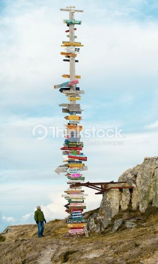 Stock Photo : Massive World Signpost Directions from Falkland Islands -Stanley