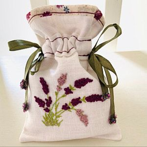 Silk Ribbon Embroidered Heart Wisteria Kit Calico Fabric