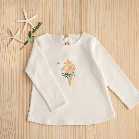 5428b07c6 Camiseta niña bordada - BLANCO CLARO LISO CON MOTIVOS - 3
