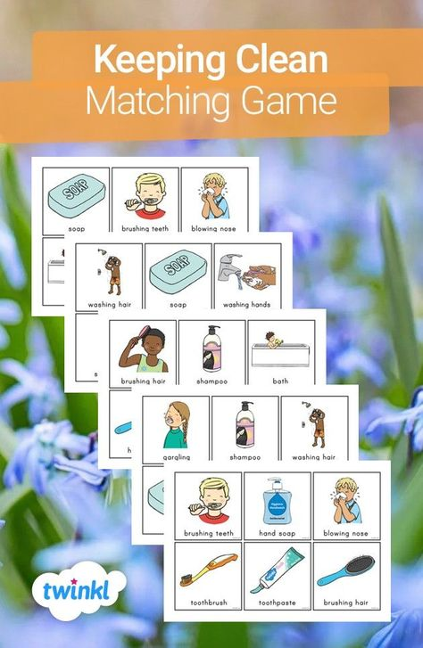 This keeping clean matching game is a fun way to teach your children the importance of keeping clean! Take turns to draw the cards and cover all of the images with your child whilst discussing the importance of each. Click the image to download and find more handy teaching resources from Twinkl.   #teaching #teacher #freeteachingresources #twinkl #twinklresources #homeeducation #homelearning #parents #parenting #schoolclosures #cleaning #clean #hygiene #brushingteeth #routine #washinghands