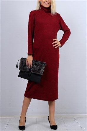 Salas Yaka Bordo Bayan Triko Elbise 10505b Elbise Moda Stilleri The Dress