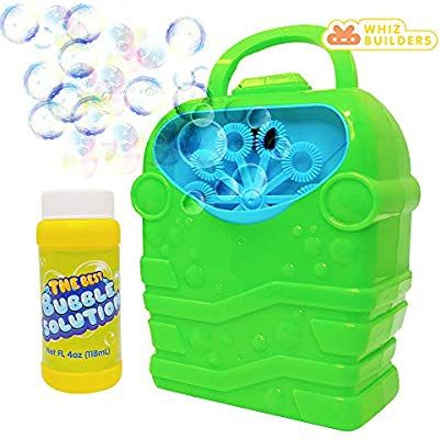 Whizbuilders Bubble Machine With Bubbles Solution Durable Bubble Blower For Boys And Girls Indoor And Outdoor Bubble Make In 2020 Bubble Machine Bubble Maker Bubbles