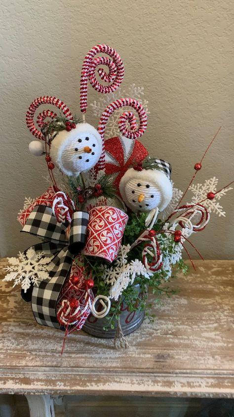 Twin snowmen centerpiece