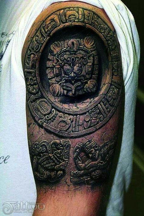 3d Aztec Calendar Shoulder Tattoo Maya Tattoos Oberarm Tattoo